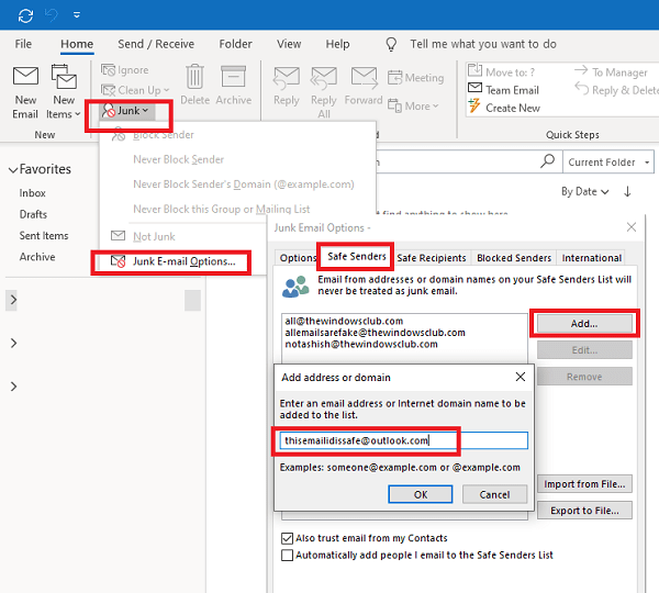 Add Email to Safe Senders List Outlook