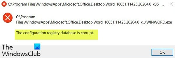 The Configuration Registry Database is Corrupt