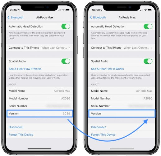AirPods Max Firmware on iPhone