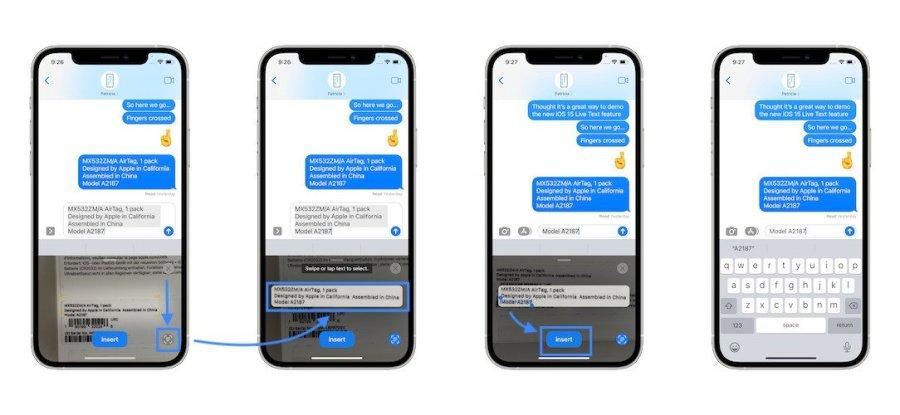 Camera text select tip text
