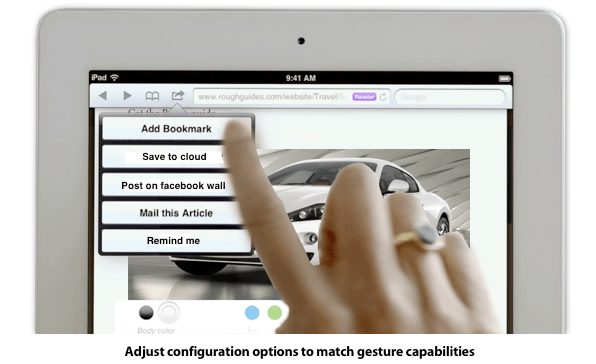 Adjust configuration options to perfectly match gesture capabilities