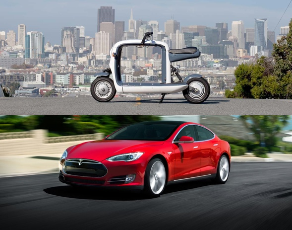 Lit Cargo Scooter and Tesla Motors' emission free Model S