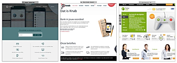 Banking websites by Simple,  Knab & Fidor.