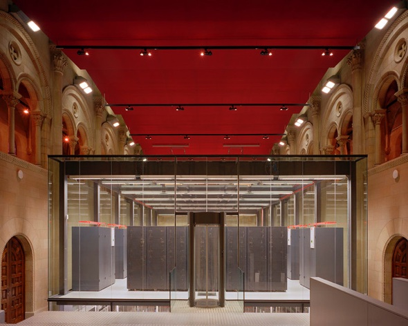 Stacks of archive files in their glass cabinets remind of server stacks in the splendour of the V&A's gallery.