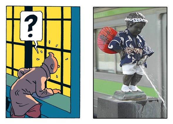 Tintin caught by surprise when he discovers Manneken Pis statue on the platform of JR Hamamatsucho station in Tokyo