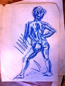 Blue nude/charcoal
