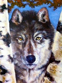 birch wolf detail/oils