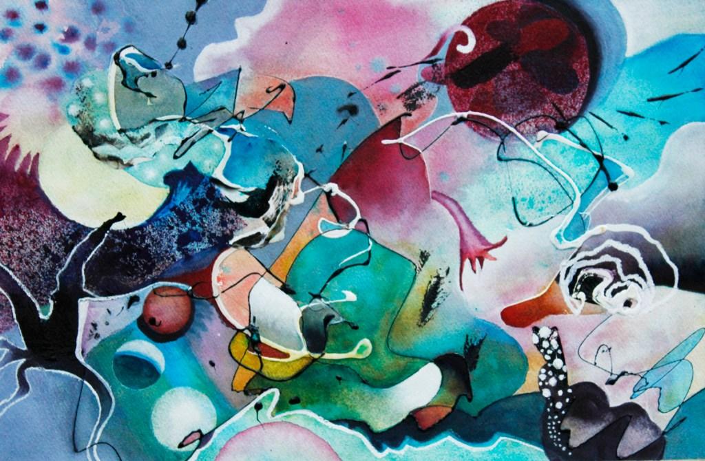 Nancy Rumpf's Processing Symbols Acrylic drip & watercolor
