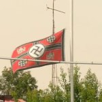 NAZI FLAG DRIVES VICTORIAN TOWN WAVING MAD