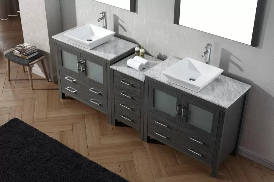 Virtu USA 90 Inch Dior DOUBLE SINK VANITY Zebra Grey With