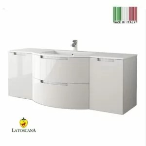 LATOSCANA 57 INCH OASI MODERN BATHROOM VANITY GLOSSY WHITE WITH TWO DRAWERS OA57OPT4W