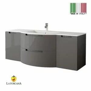 LaToscana 57 Inch OASI Modern Bathroom Vanity Glossy Gray with two drawers left and right side cabinets OA57OPT4G