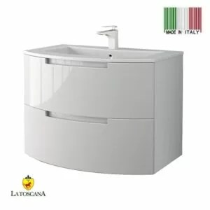 LaToscana Oasi 29 inch Modern Bathroom Vanity Glossy White with 2 Slow Close Drawers and Tekorlux Sink Top OA29OPT1W