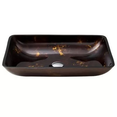 Rectangular Brown and Gold Fusion Glass Vessel Bathroom Sink VIGO Model number VG07044