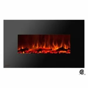 Royal Series - Electric Wall Mount Fireplace with Logs - 36 inch