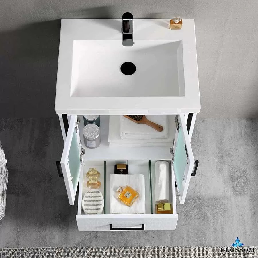 blossom birmingham 24 inch bath vanity glossy white acrylic top