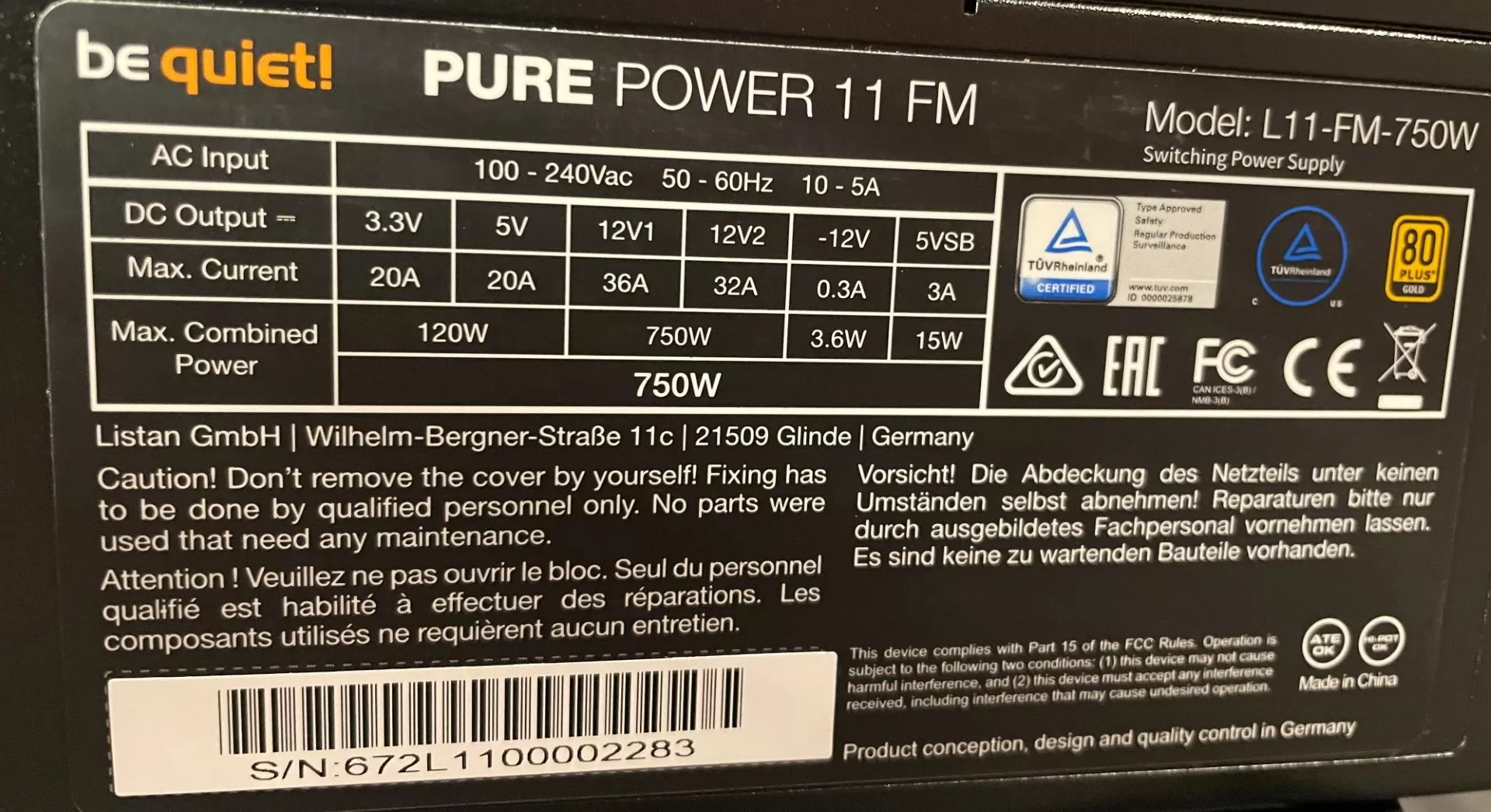 Specifications be quiet PURE POWER 11 FM 750W Review - Newb Computer Build
