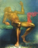 Oil painting of reclining male nude.
