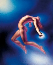 oil painting of female nude ascending through space.