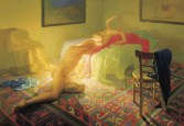 oil painting of a nude couple in a light filled room.