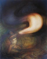 oil painting of nude male releasing light into the Universe