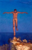 oil painting of nude Icarus coming down to Earth safely
