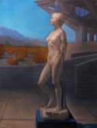 oil painting of a modern concept of a setting for a female nude sculpture.