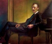 contemporary oil painting of Opera composer Puccini.