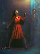 contemporary oil painting of a confrontation of a man and a women at night.