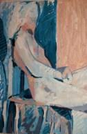 Sitting nude, '77, mixed media