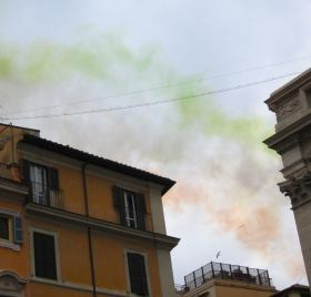 Jets streaking across the Roman sky.