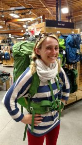 Backpacking with an ostomy - trying on a backpack