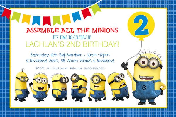 minion birthday party invitations the