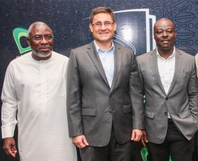 L-R: Patron, Etisalat Prize for Literature, Dele Olojede; Chief Executive Officer, Etisalat Nigeria, Matthew Willsher, and Chair of Judges, 2016 Etisalat Prize for Literature, Helon Habila at a Press Conference to announce the Call for Entry for the 2016 Etisalat Prize for Literature at the Wheatbaker Hotel, Ikoyi, Lagos on Wednesday June 1.