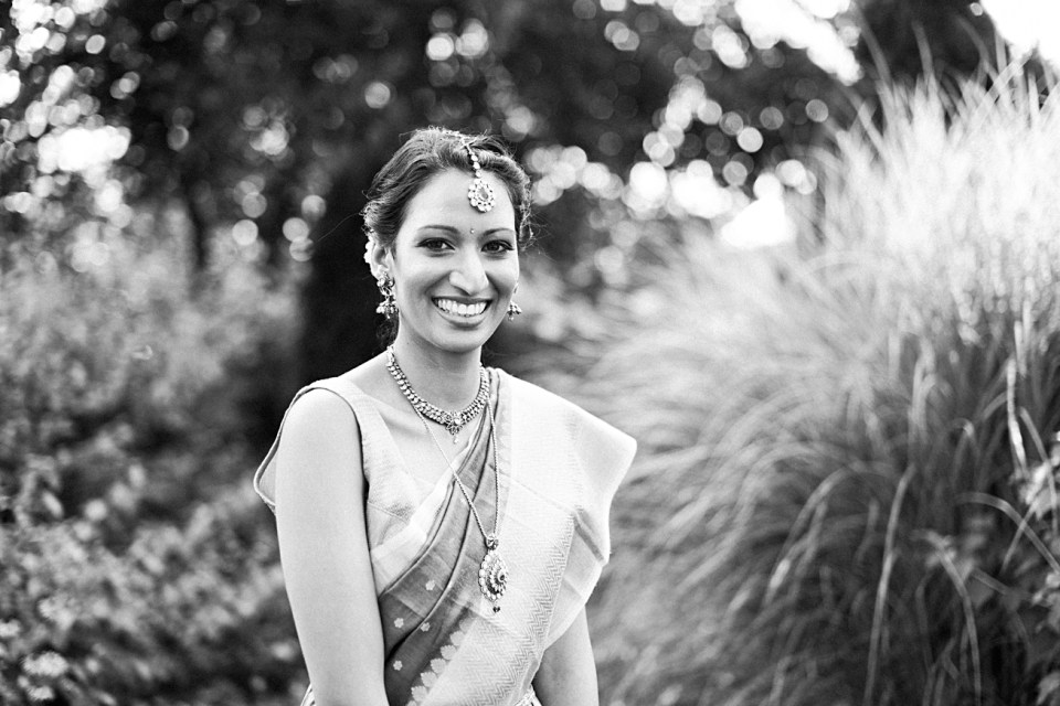 black and white portrait first look bride