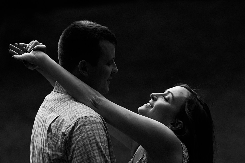 Dramatic Black and White Photos for Engagement Session