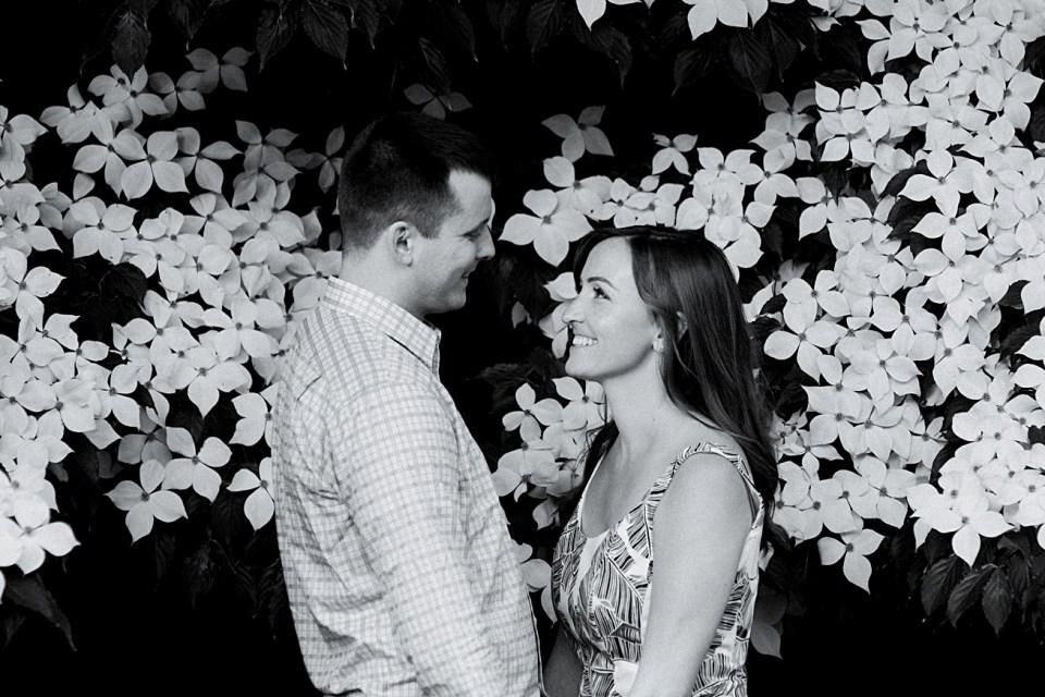Black and White Engagement Photograph | Arboretum