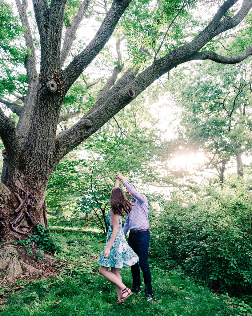 Dancing in the Park at Sunset under a beautiful tree   Engagement Photos Boston