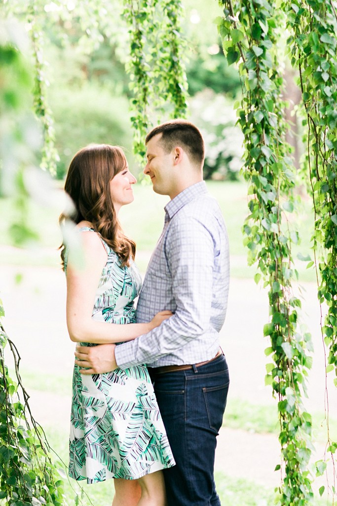Relaxed Engagement Photos by a willow tree