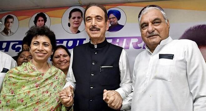 कांग्रस प्रदेश अध्यक्ष कुमारी शैलजा के साथ भूपेंदर हुड्डा और प्रभारी घुलान नबी आजाद