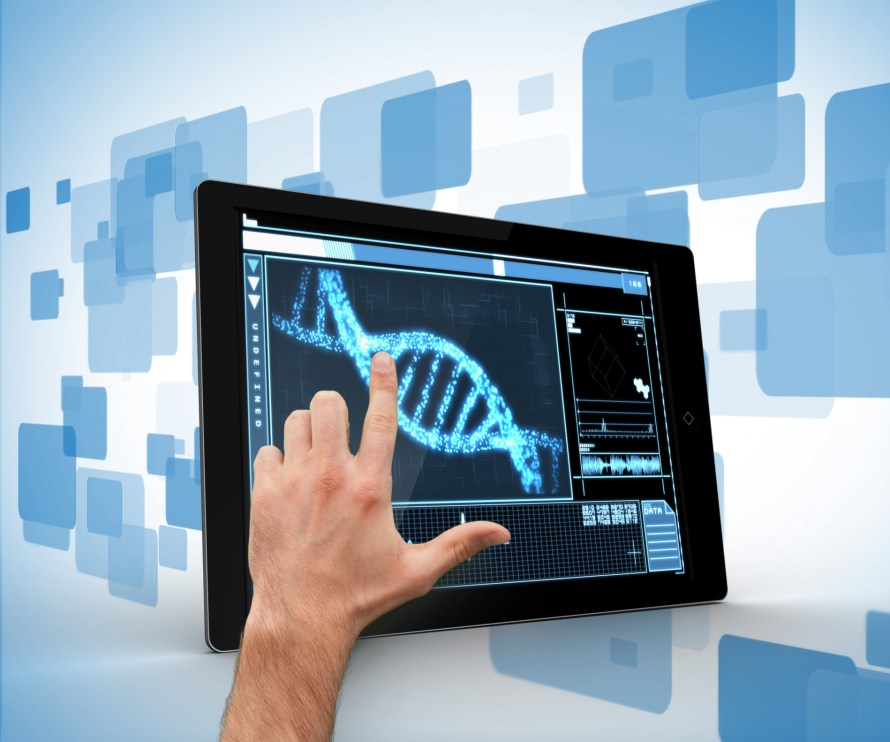 DNA interface on tablet man touching