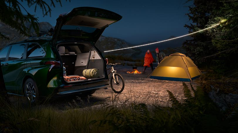 New Toyota Sienna at campsite