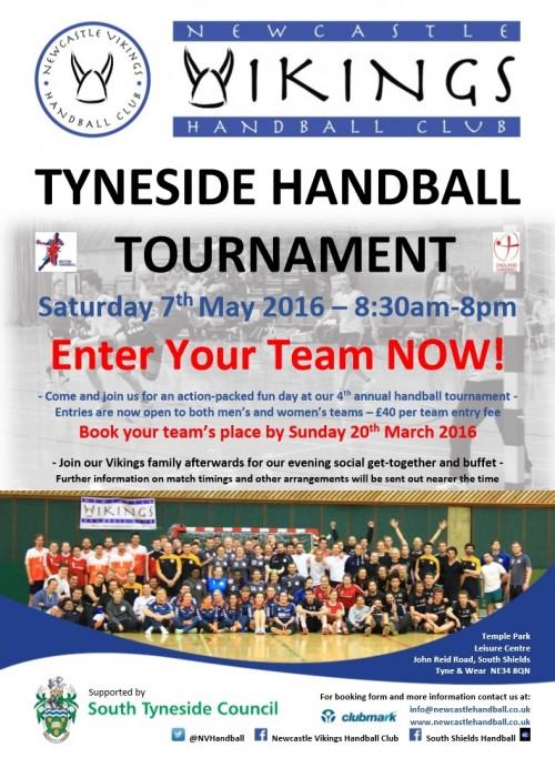 NVHC Tyneside Handball Tournament Entry Poster (March 2016)
