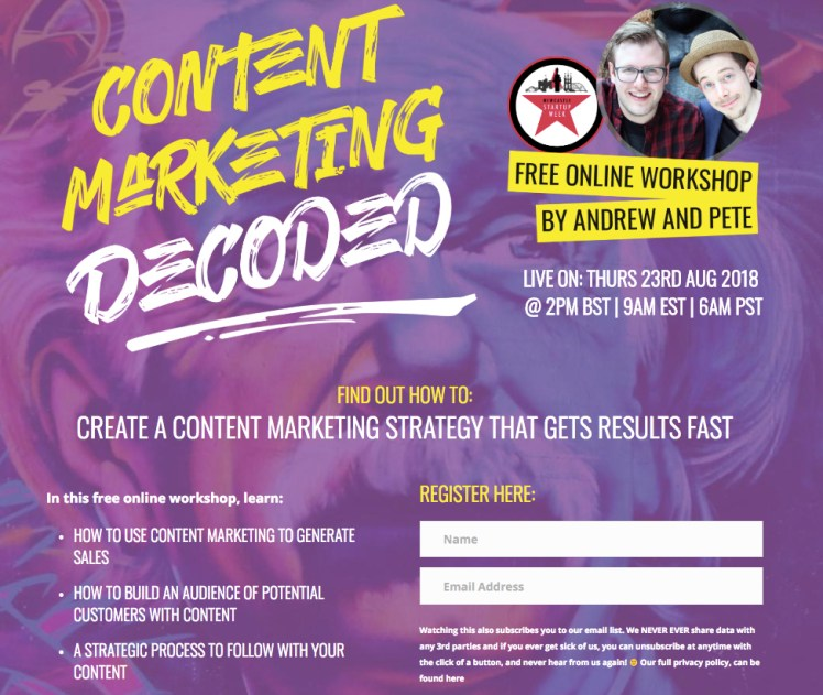 Register for Content Marketing 'Decoded' by Andrew & Pete