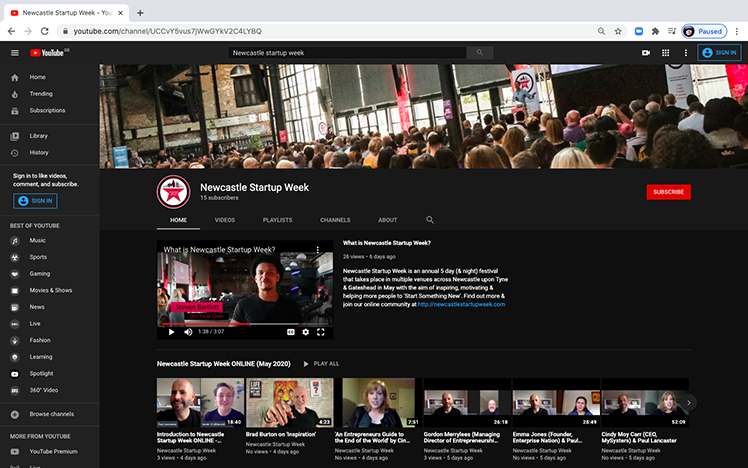 Newcastle Startup Week YouTube Channel