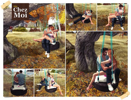 Playful Tire Swing Blue Couple Poses CHEZ MOI