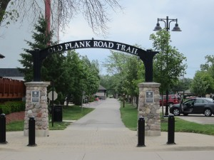 Gateway for the Old Plank Road Trail in Frankfort. Photo: John Greenfield