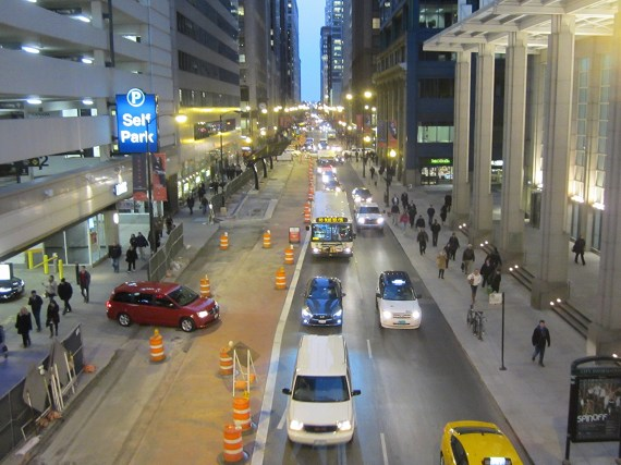 Madison Street, part of the Loop Link bus route, could be made car-free. Photo: John Greenfield