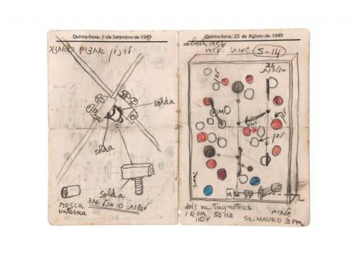 Abraham Palatnik, Sketch for Kinechromatic Machine, 1949, 15,0x20,1cm, Artist's Archive/Photo: Vicente de Mello