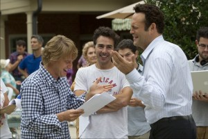 """Owen Wilson, director Shawn Levy, and Vince Vaughn enjoy preparing for a scene on the set of THE INTERNSHIP."""